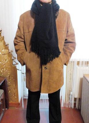 Мужская дубленка натуральная замша цигейка большой размер пог-66 см.