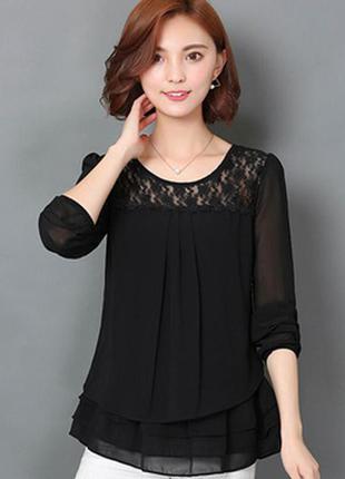 Черная, базовая, шифоновая блузка с кружевные верхом/деловая/офис/длинным рукавом/etam