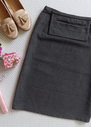 Тёплая и стильная серая  юбка миди с высокой талией