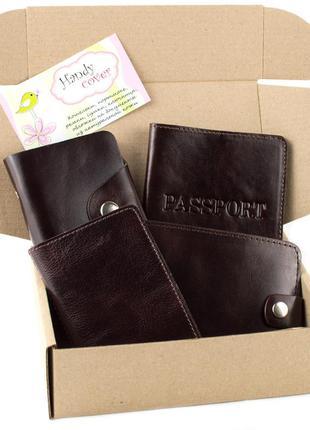 Подарочный набор №7 (коричневый): обложка на паспорт, права + картхолдер + портмоне п1