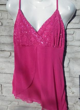 Распродажа!!! шикарная, шифоновая блуза розового цвета в паетках essence