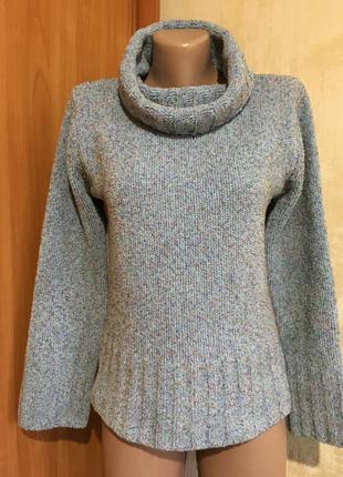 Мягкий меланжевый свитер из синели с хомутом!