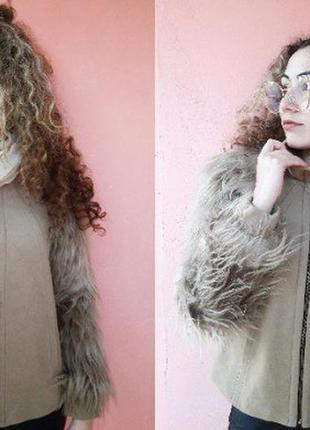 Пальто кашемир шубка мохнатка zara
