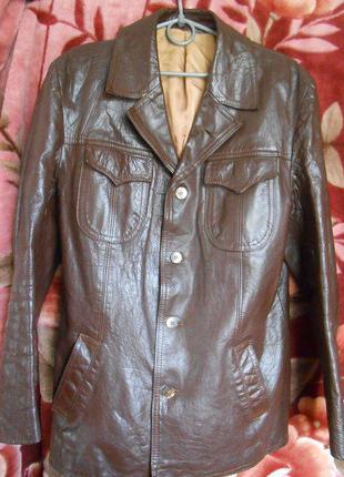 Винтаж. куртка - пиджак из яловой кожи,  50 размер