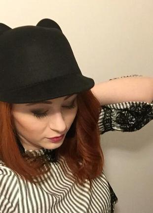 🆕 шляпа - жокейка, фетровая шапка с ушками, капелюх must have шапка, кепка, картуз, кепи