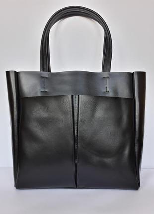 """Женская кожаная сумка """"kyiv perfection shopper"""" черная"""