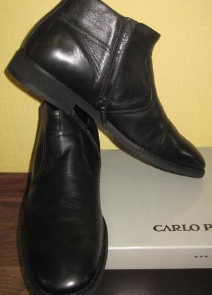 Мягенькие кожаные ботинки carlo pazolini на натуральной овчине раз 45 по стельке 30см