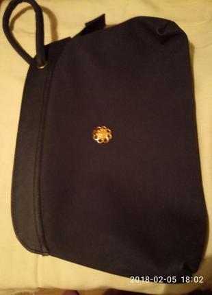 Нарядный темносиний ридикюль сумка с ручкой-петлей