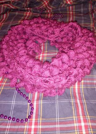 Красивый вязаный снуд хомут handmade шарф
