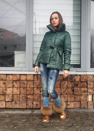 Женская куртка на завязках тая (пуховик)