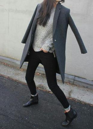 Серое пальто бойфренд, прямой крой, оверсайз, boyfriend, oversize, m, l, xl в стиле zara