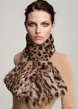 Меховой шарф, снуд, принт леопард