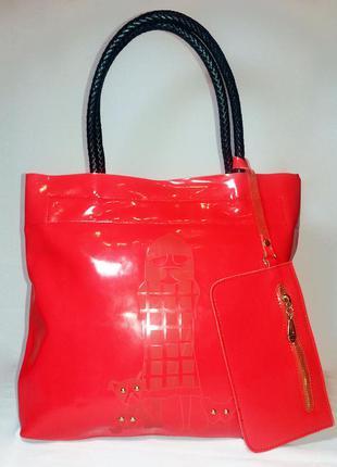 Суперцена. farfalla rosso. шикарная корраловая сумка с кошельком. натур. кожа. новая