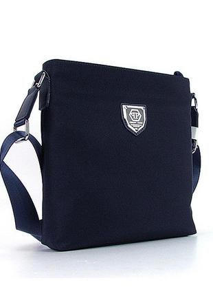 Синяя маленькая мужская сумка через плечо текстильная на молнии