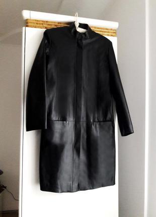 Шикарный кожаный плащ тренч пальто