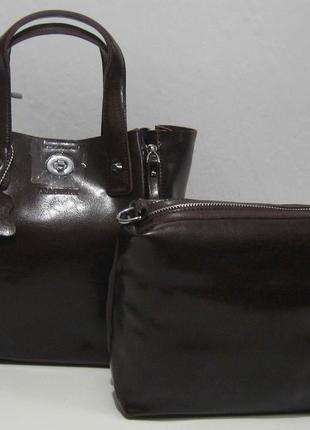 2 в 1: кожаная сумочка + косметичка (шоколадная) 18-01-075