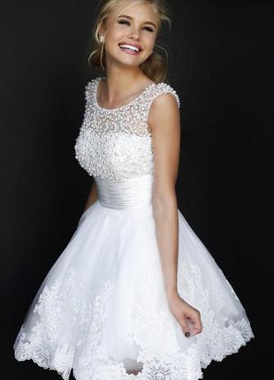 Свадебное / выпускное короткое милое платье - солнце с бусами
