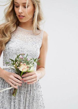 Amelia rose роскошное серебристое платье в пайетках