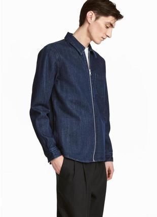 Мужская джинсовая рубашка на молнии,темносиняя джинсовая куртка-рубашка на мужчину