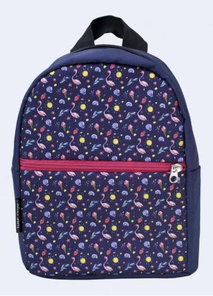 Детский рюкзак - синий с фламинго