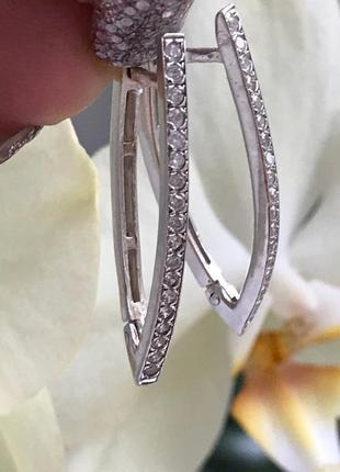 Серьги серебряные стрелы белые 2008