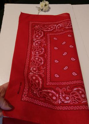 Красная бандана,шейный платочек,55*52см