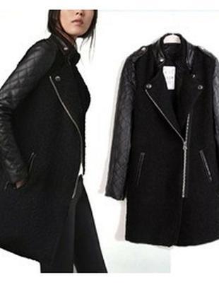 Черное пальто бойфренд букле кожаные рукава кожа, шерсть, boyfriend 28%, zara, xs