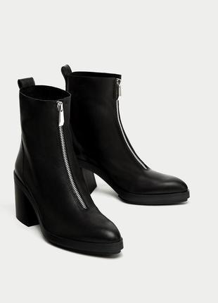 Чёрные ботинки zara на каблуке