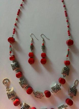 Набор колье ожерелье браслет серьги