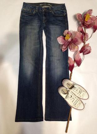 Потёртые джинсы прямого кроя длинные