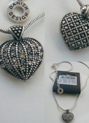 Колье подвеска сердце кулон цепочка напыление серебро pilgrim