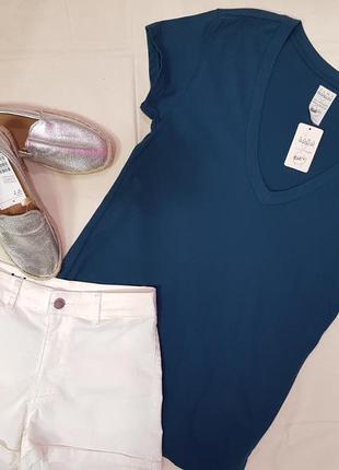 Хлопковая футболка с вирезом zara,синяя футболка на зуб