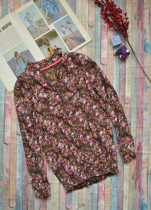 Красивая блуза в принт цветы с рюшами lck post  card