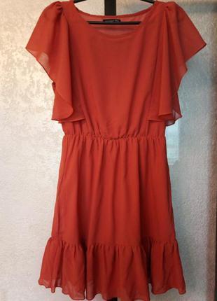 Платьице кирпичного цвета из крепдишина