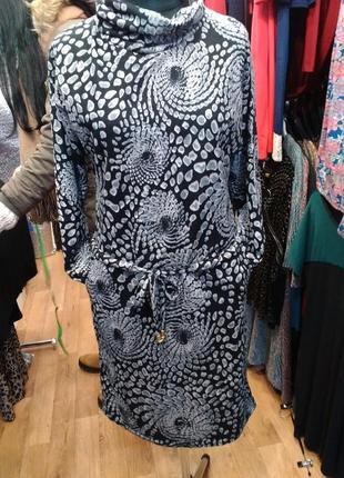 Зимнее платье с хамутом. теплое с абстракцией