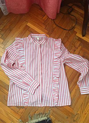 Рубашка h&m коттон с рюшами