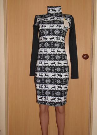 Теплое платье на каждый день с оленями