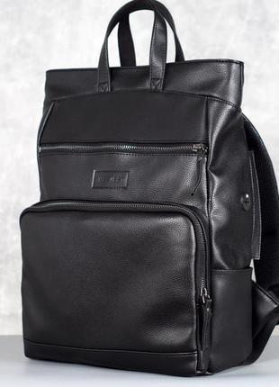 Кожаный черный рюкзак мужской, сумка рюкзак