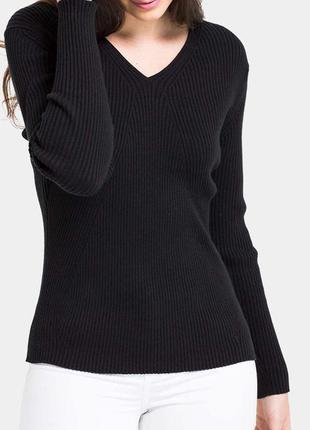Идеальный чёрный свитер джемпер в рубчик