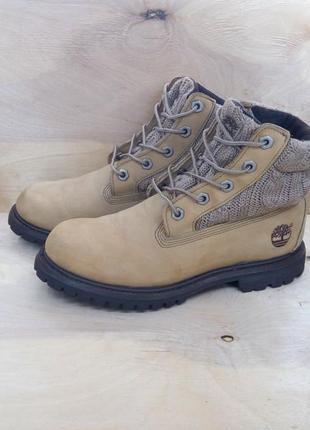 Крутые нубуковые ботинки timberland с вязаным верхом ( 35 размер )