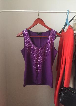 Блуза топ в паетки лилового цвета тренд 2018