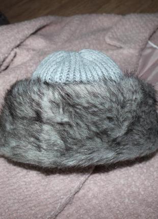 Шикарная шапка marks&spencer с мехом