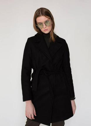 Новое теплое пальто, шерстяное пальто, пальто-халат, черное пальто chereshnivska