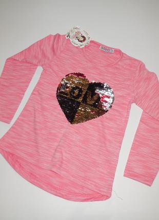 Реглан, кофточка для девочек пайетки перевертыши сердце