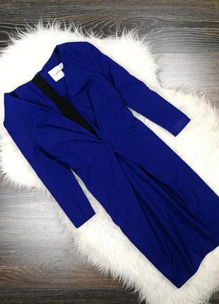 Темно-синее платье с глубоким декольте 135144 asos размер uk8/36 (s)