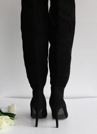 Новые замшевые ботфорты на высоком каблуке