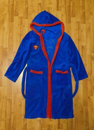Халат с капюшоном костюм супермен супергерой superman dc comics флис м