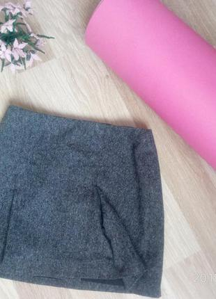 Серая меланжевая мини юбка h&m шерсть шелк