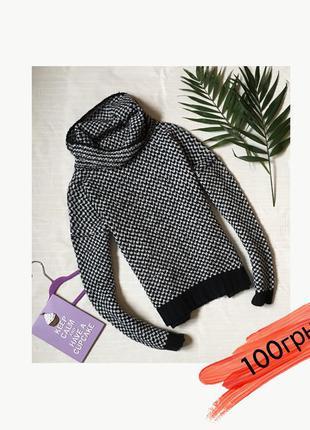 Oversize свитер свитшот оверсайз большой ворот хомут вязанный