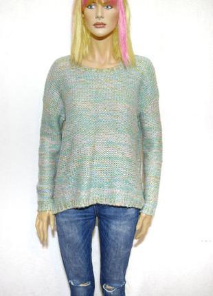 Теплый вязаный свитер пастельные цвета